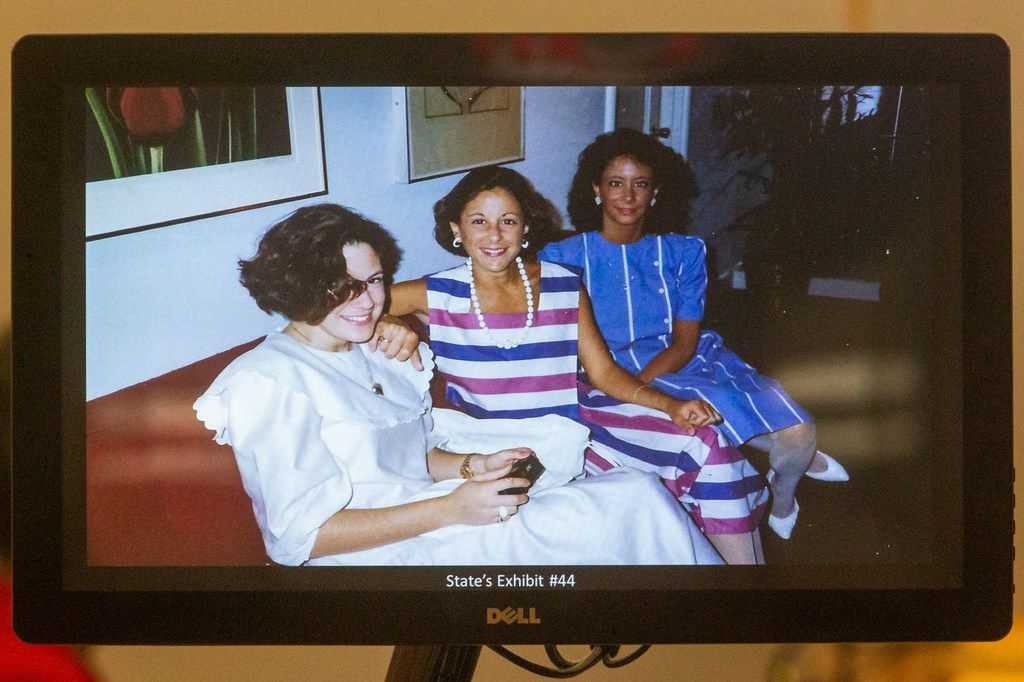 A photograph of Katherine Bascone (right) from the 1980s is displayed by prosecutors as testimony begins in the capital murder trial for George Guo.