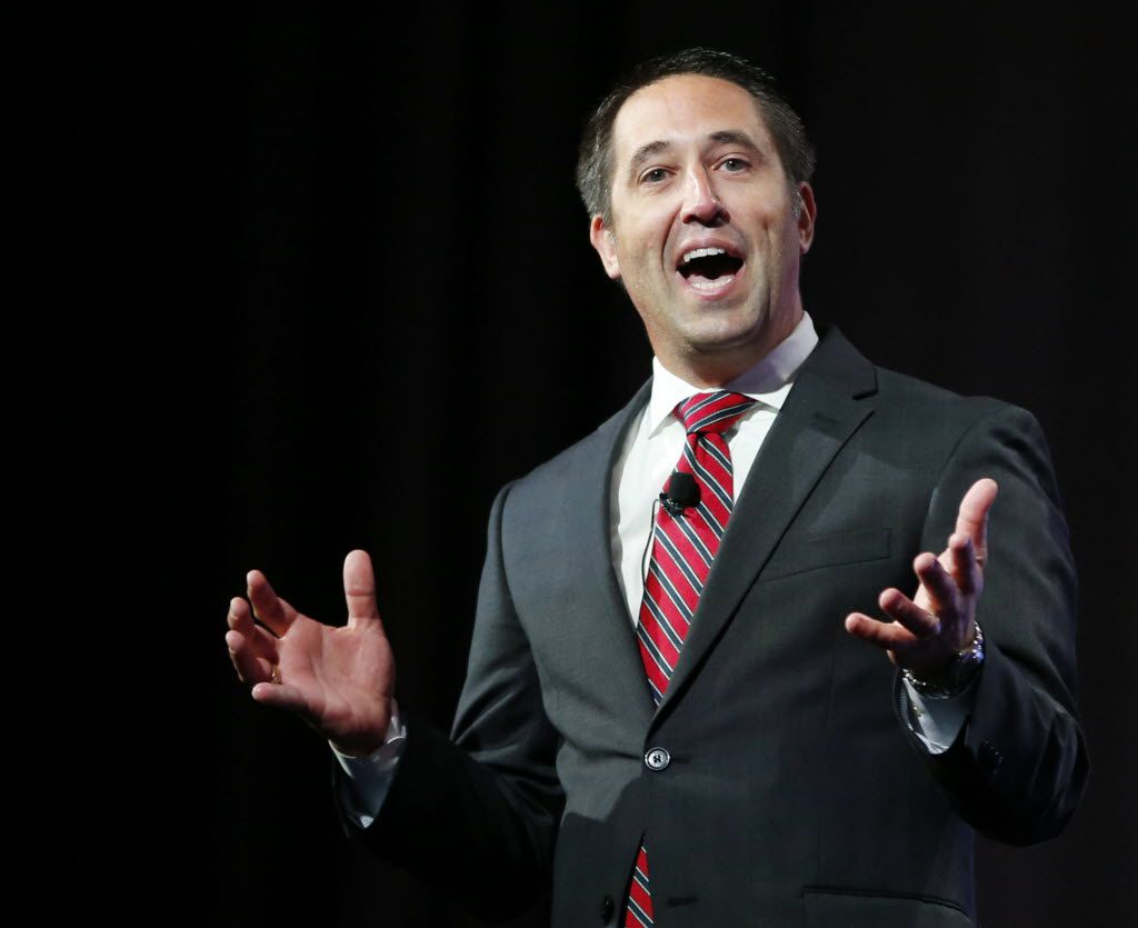 Texas Comptroller Glenn Hegar speaks during the 2016 Texas Republican Convention at the Kay Bailey Hutchison Convention Center in Dallas.