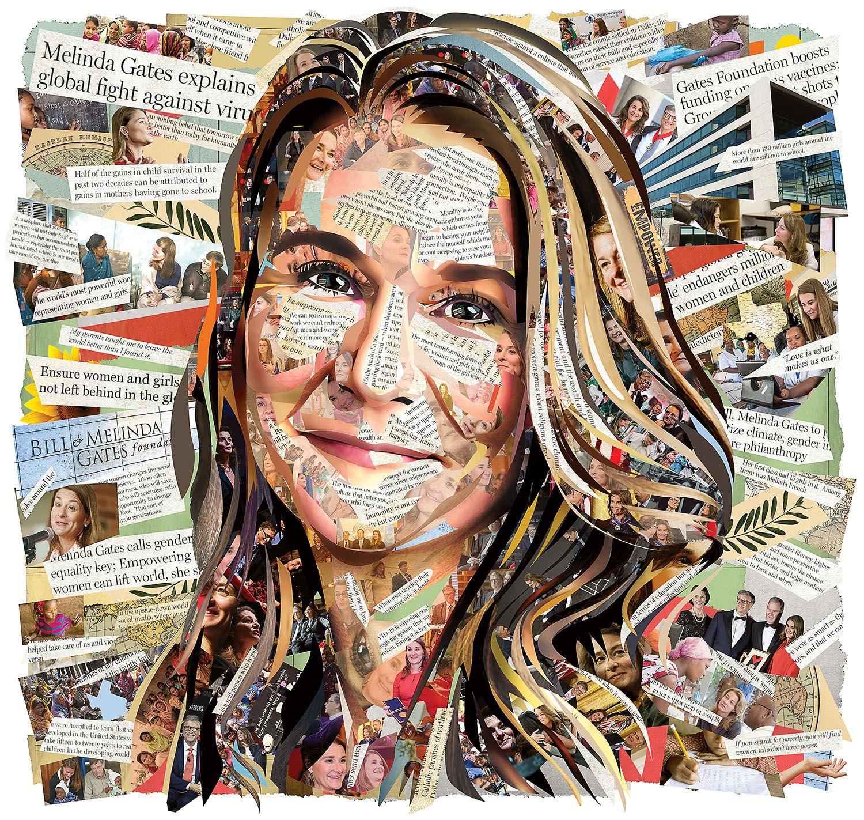 Portrait Illustration of Melinda Gates.  Michael Houge/The Dallas Morning News
