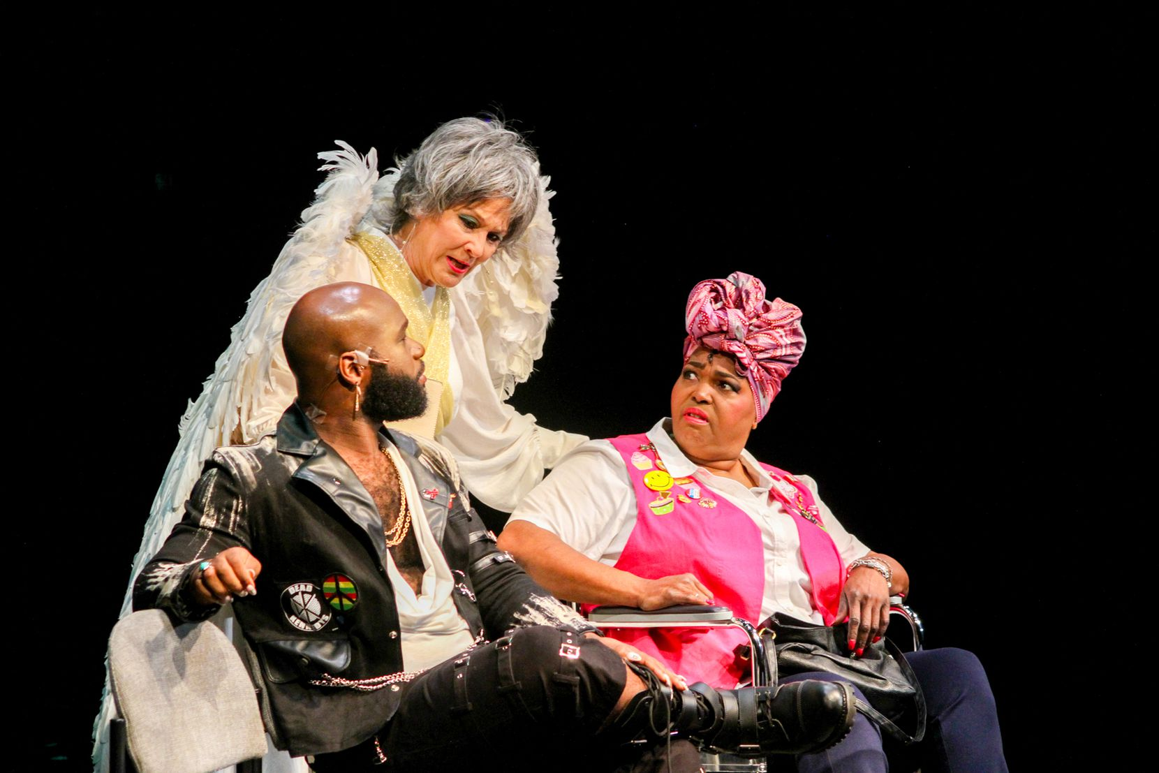 """From left: Bradley Atuba, Sally Nystuen Vahle and Liz Mikel in the premiere of Dallas Theater Center playwright-in-residence Jonathan Norton's """"Cake Ladies,"""" running through Oct. 17."""