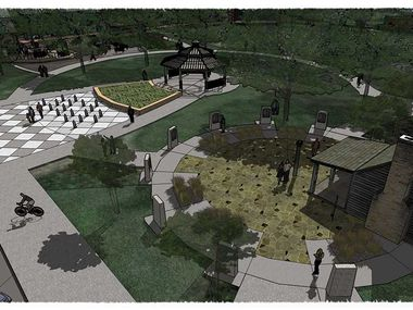 A rendering depicts the planned redevelopment of Heritage Park in Irving, which is projected to open in 2021.