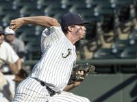 Keller Eric Hammond, (27), pitches against Houston Strake Jesuit during the sixth inning of the 2021 UIL 6A state baseball semifinals held, Friday, June 11, 2021, in Round Rock, Texas.     Keller defeated Strake Jesuit 7-1.