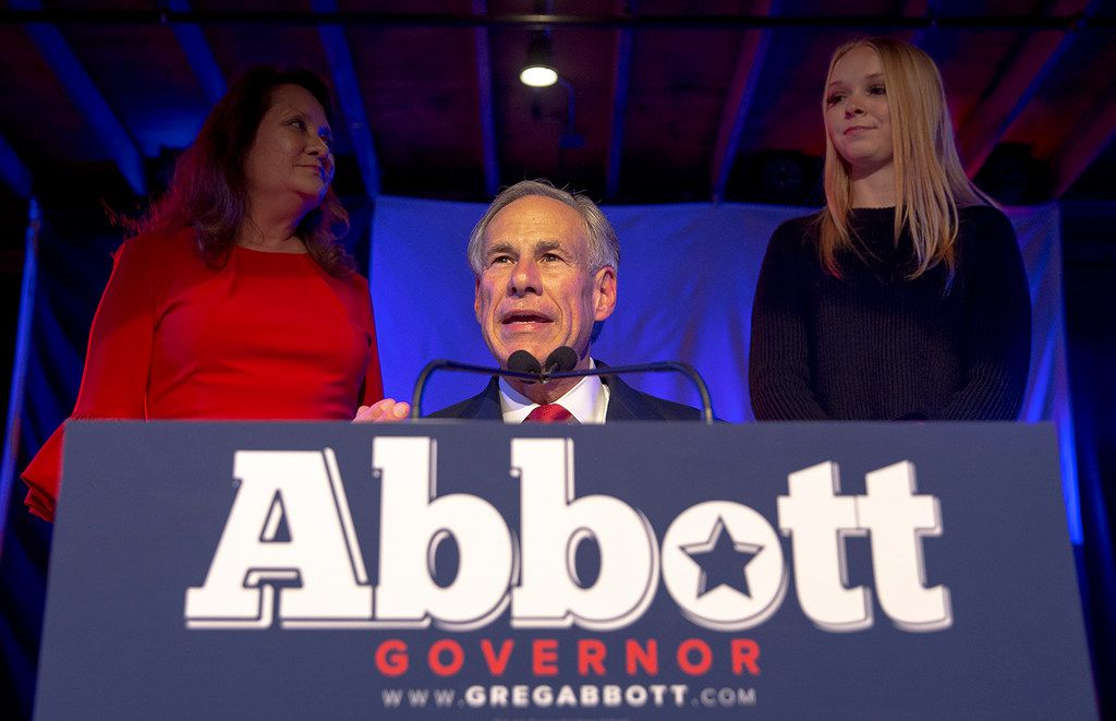 Texas Gov. Greg Abbott speaks to supporters during the Texas GOP election night party at Brazos Hall in Austin, Texas, on Tuesday, Nov. 6, 2018. Abbott defeated Lupe Valdez in his re-election bid. (Nick Wagner/Austin American-Statesman via AP)