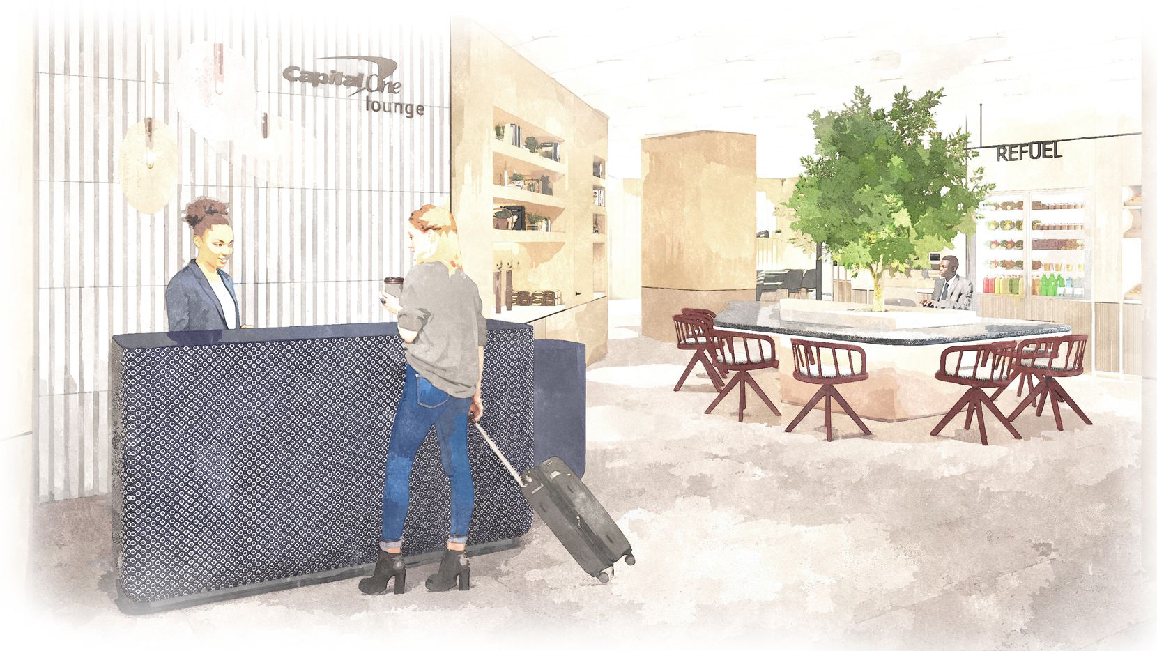 Capital One is opening airport lounges at DFW and Dulles. This artist's rendering shows the lounge entrance, featuring a quiet work zone and grab-and-go food area.