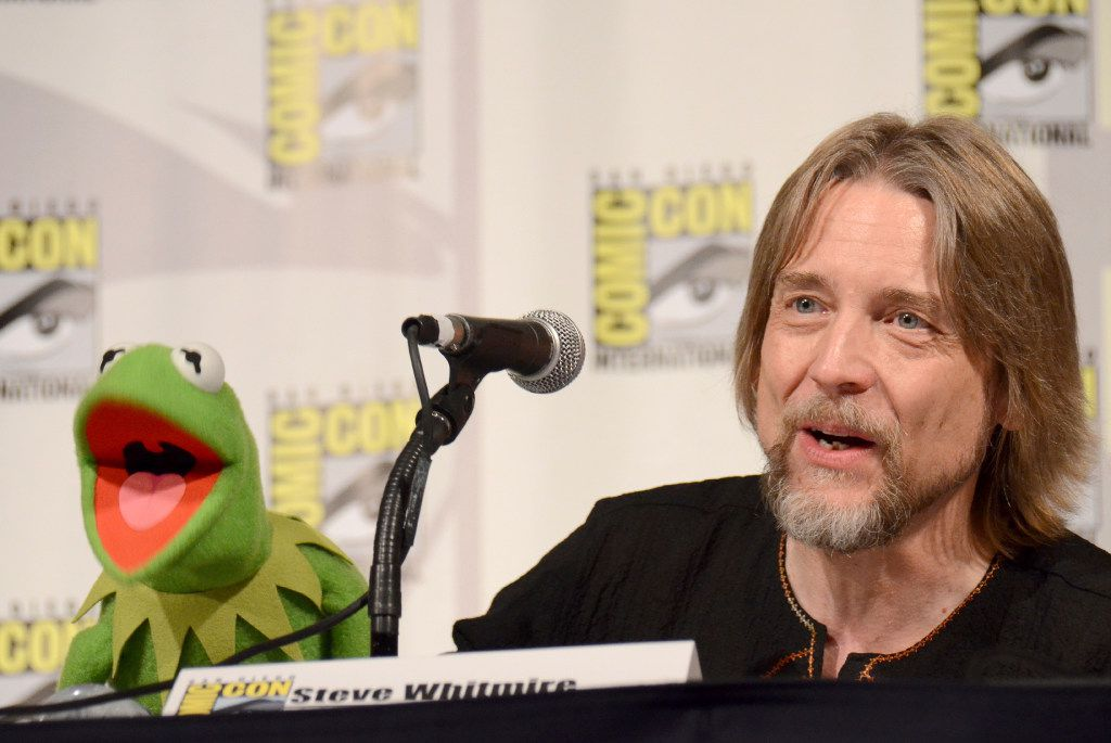 """FILE - In this July 11, 2015, file photo, Kermit the Frog, left, and puppeteer Steve Whitmire attend """"The Muppets"""" panel on day 3 of Comic-Con International in San Diego. ABC News and The Hollywood Reporter reported July 10, 2017, that Whitmire is no longer performing the character."""