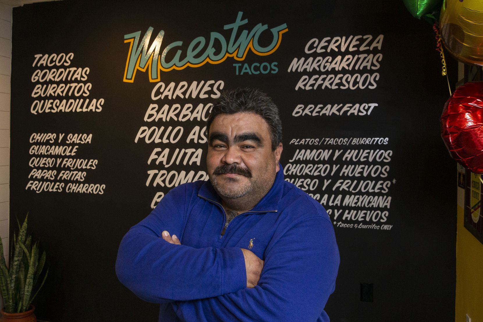 Chef Miguel Mendoza poses for a portrait at Maestro Tacos — a new tacos and tequila bar — located in Fort Worth.