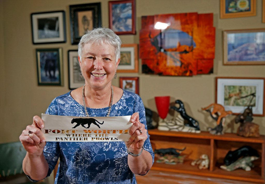 Tarrant County historian Carol Roark poses for a photograph with Larry Schuessler's Panther City memorabilia collection at Larry's home in Fort Worth.