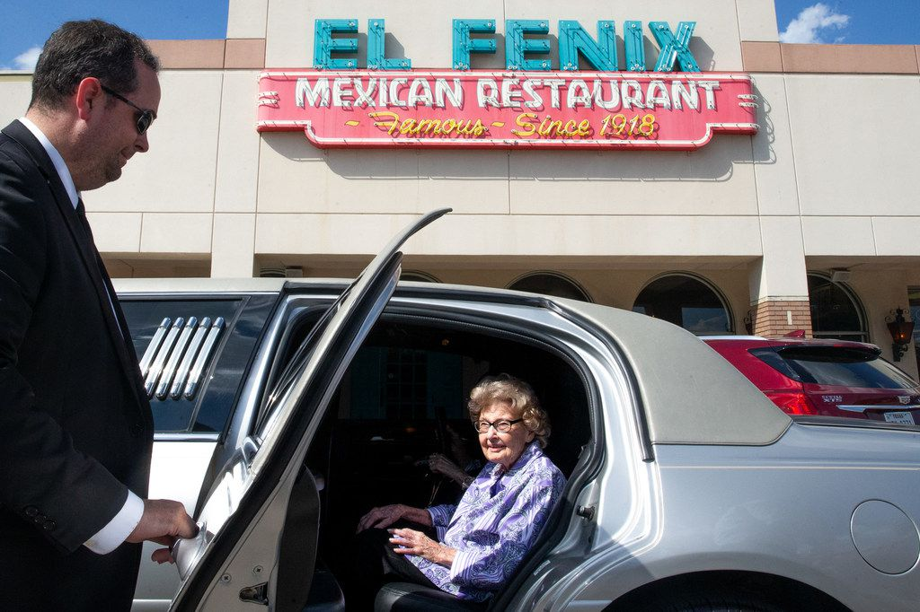 """Agnes """"Mickey"""" Santillo, 99, was treated to a limo ride and lunch at El Fenix on Monday. It was Santillo's special wish since taking a fall in May."""