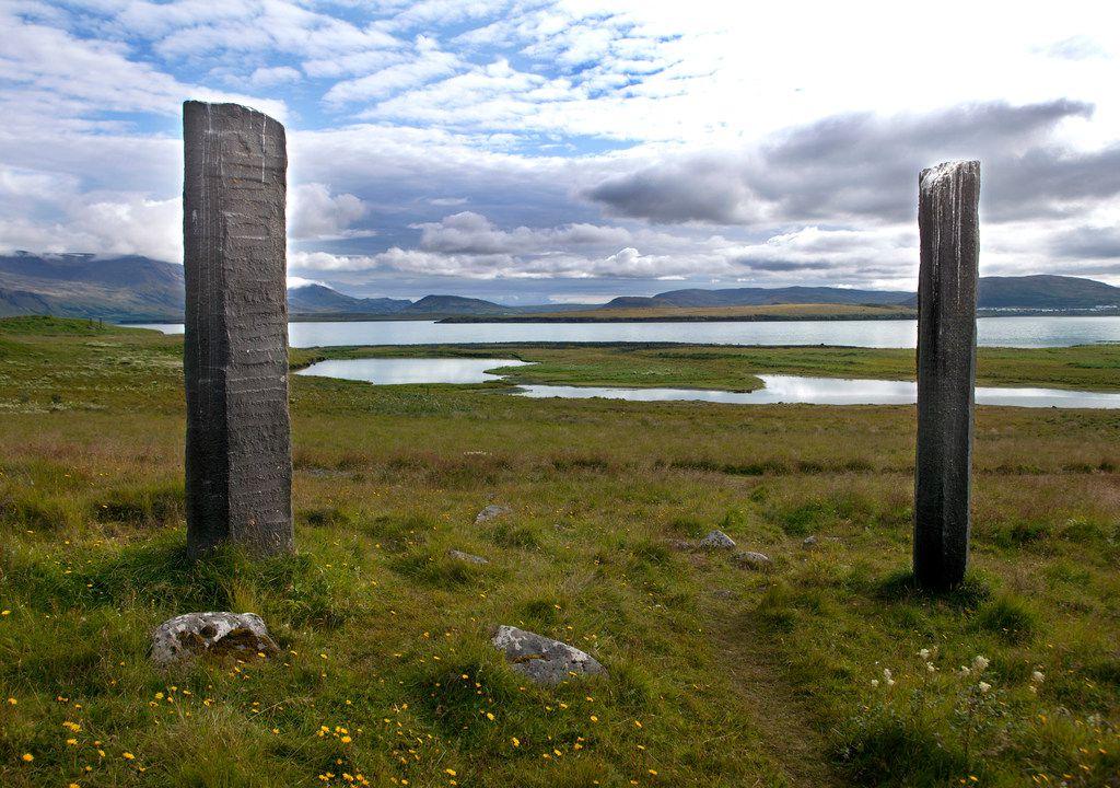 Richard Serra Áfangar, basalt columns, on Viðey Island, off the coast of Reykjavík, Iceland.