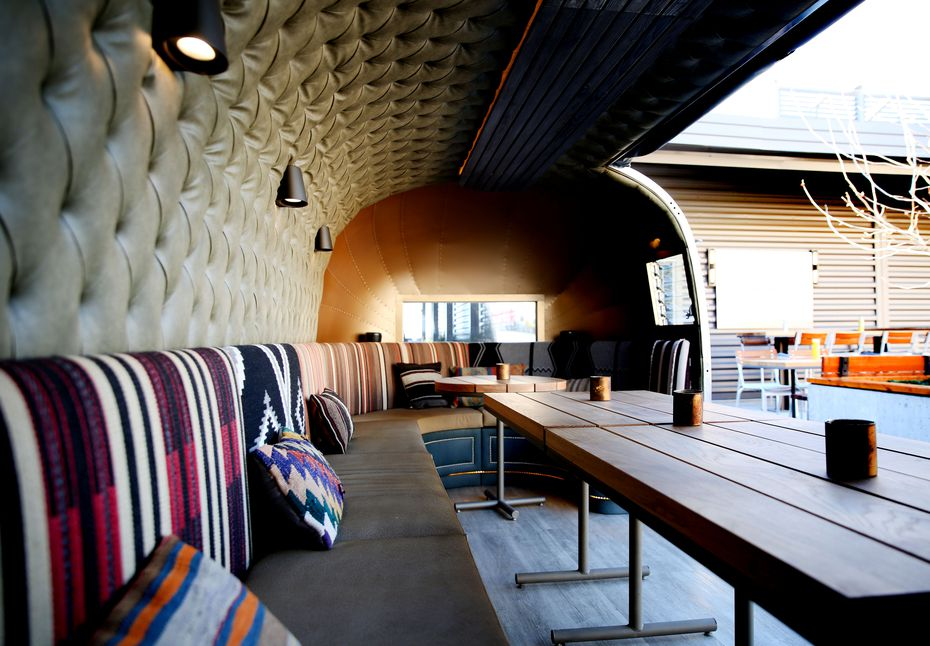 At Haywire in Plano, an Airstream acts as a 'lounge' on the third-floor patio.