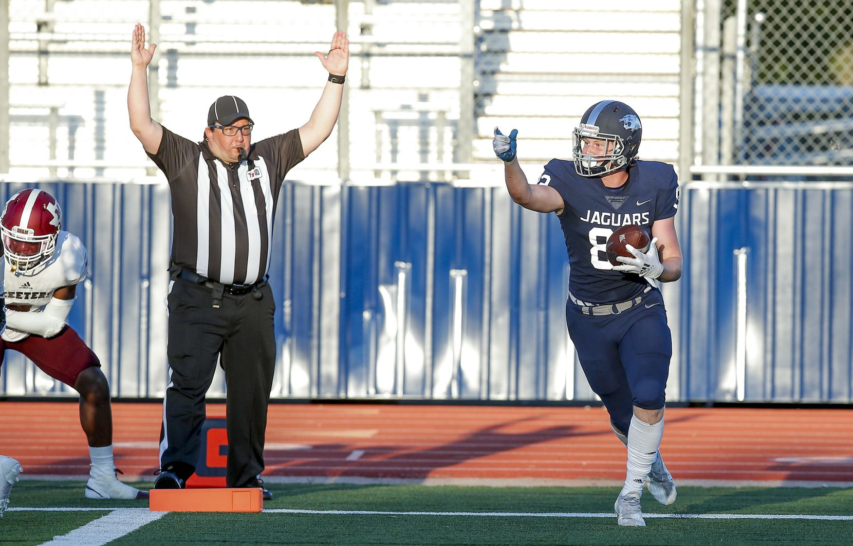 Flower Mound sophomore wide receiver Jason Welch (82) celebrates scoring a touchdown during the first half of a high school football game against Mesquite at Flower Mound High School, Friday, August 27, 2021. (Brandon Wade/Special Contributor)
