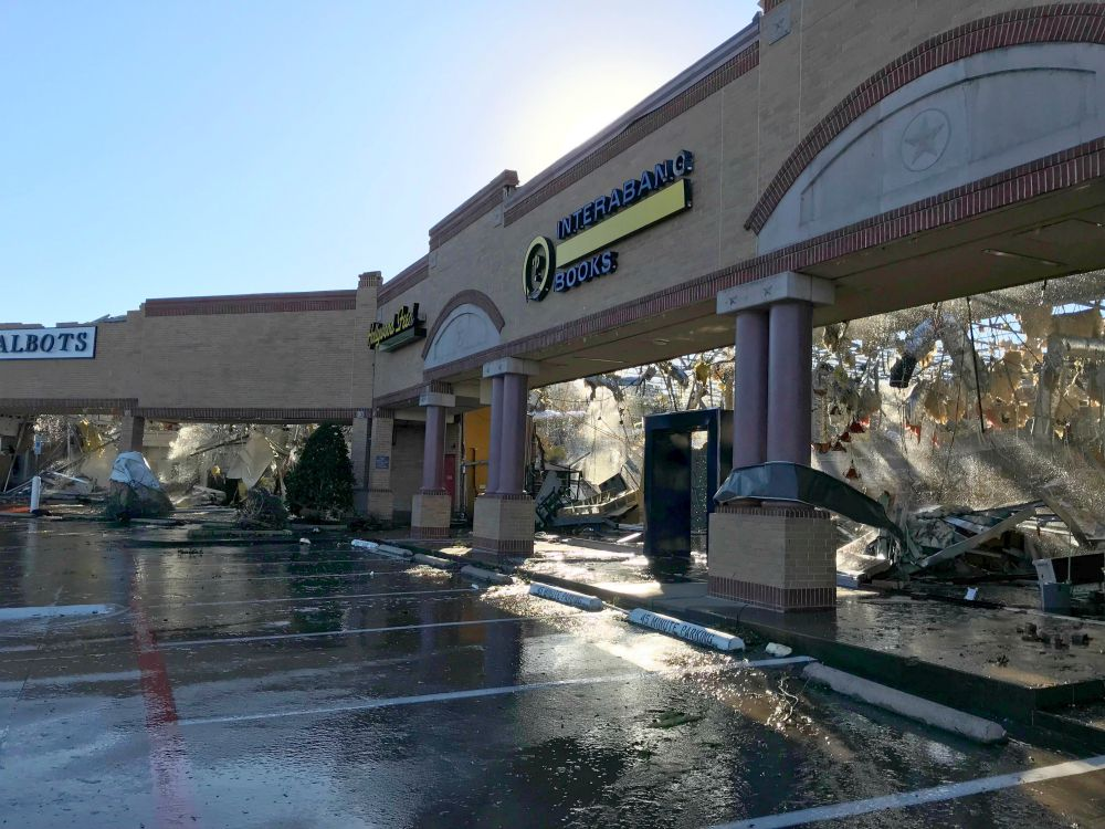Interabang Books in Preston Royal Shopping Center was one of dozens of businesses destroyed or damaged by Sunday night's tornado.