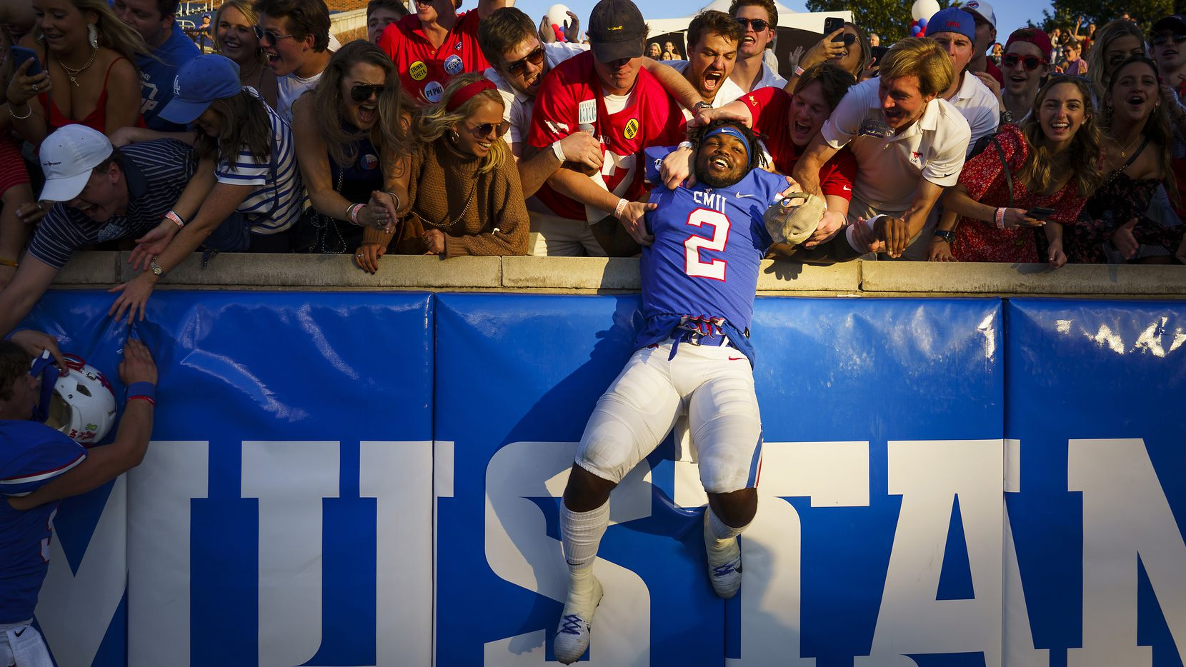SMU running back Ke'Mon Freeman (2) celebrates with fans after a victory over Temple in an NCAA football game at Ford Stadium on Saturday, Oct. 19, 2019.