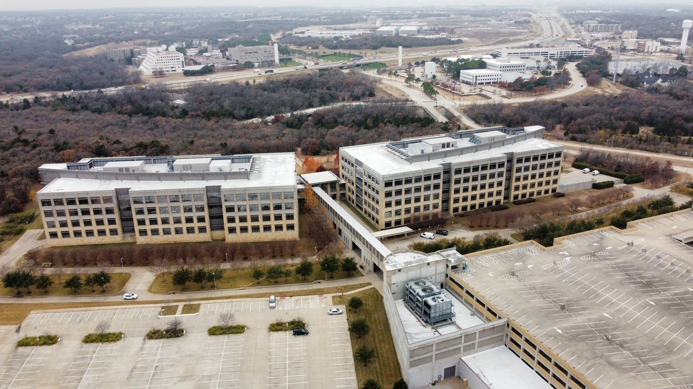 The two-building Southlake office campus has almost a half million square feet of space.