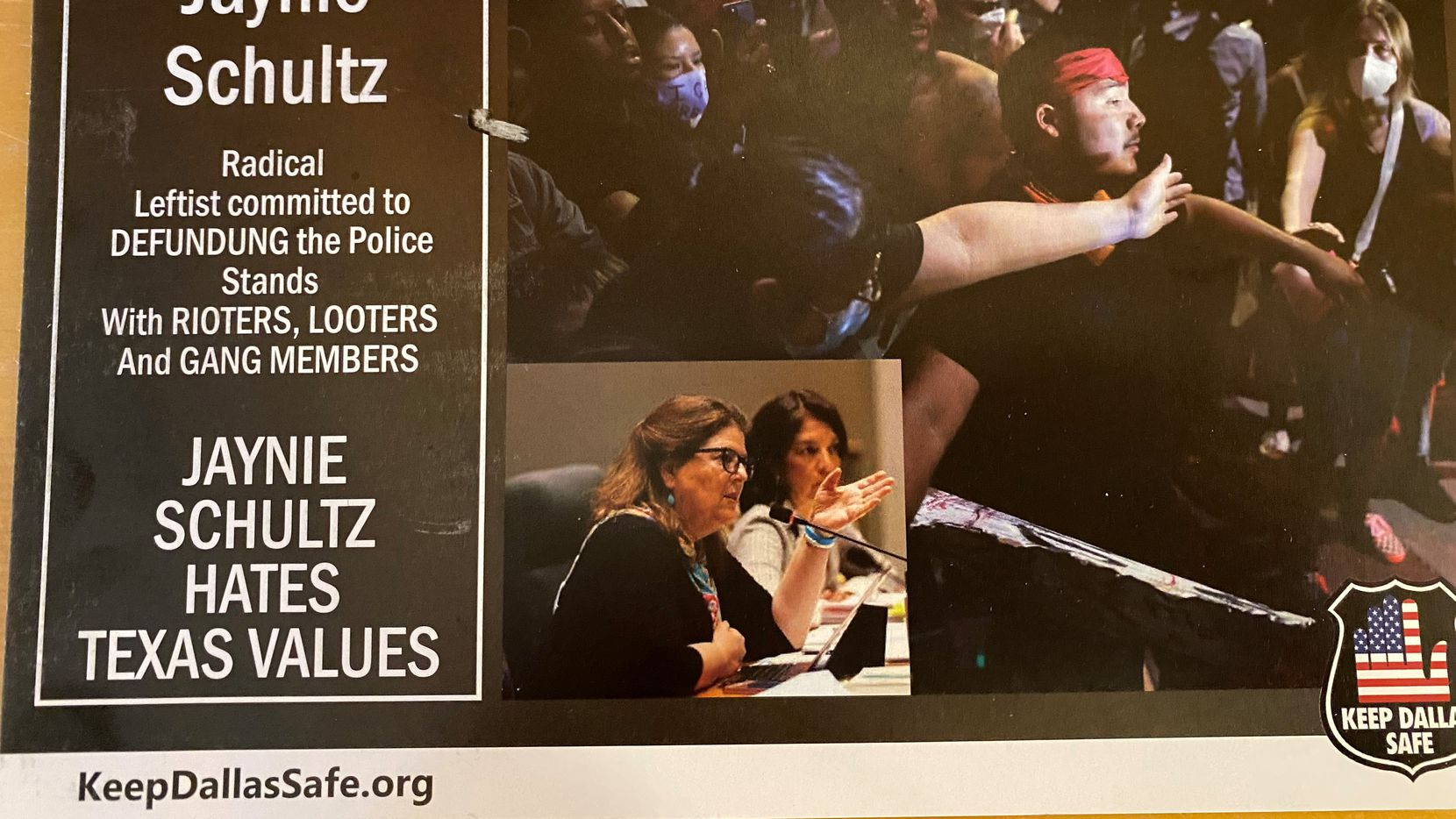 A mailer from the group Keep Dallas Safe attacks District 11 City Council candidate Jaynie Schultz.