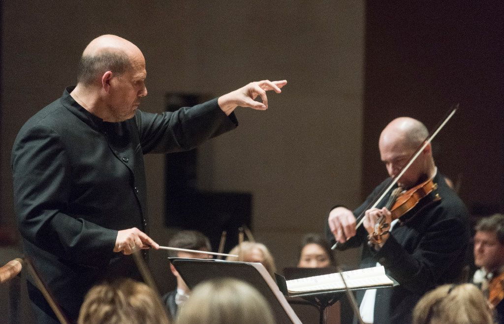 """With Jaap Van Zweden conducting, Violinist Alexander Kerr performed Sergei Prokofiev's """"Concerto No.1 in D major for Violin and Orchestra, Op. 19"""" with the Dallas Symphony Orchestra on Thursday.   (Rex C. Curry/Special Contributor)"""