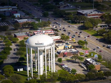 Aerial view of McKinney, Texas on Tuesday, March 24, 2020.