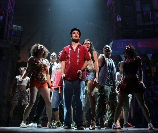 This Feb. 29, 2008 picture shows Lin-Manuel Miranda, center, and members of the cast in a scene from the musical In the Heights, playing at Broadway's Richard Rodgers Theatre in New York.