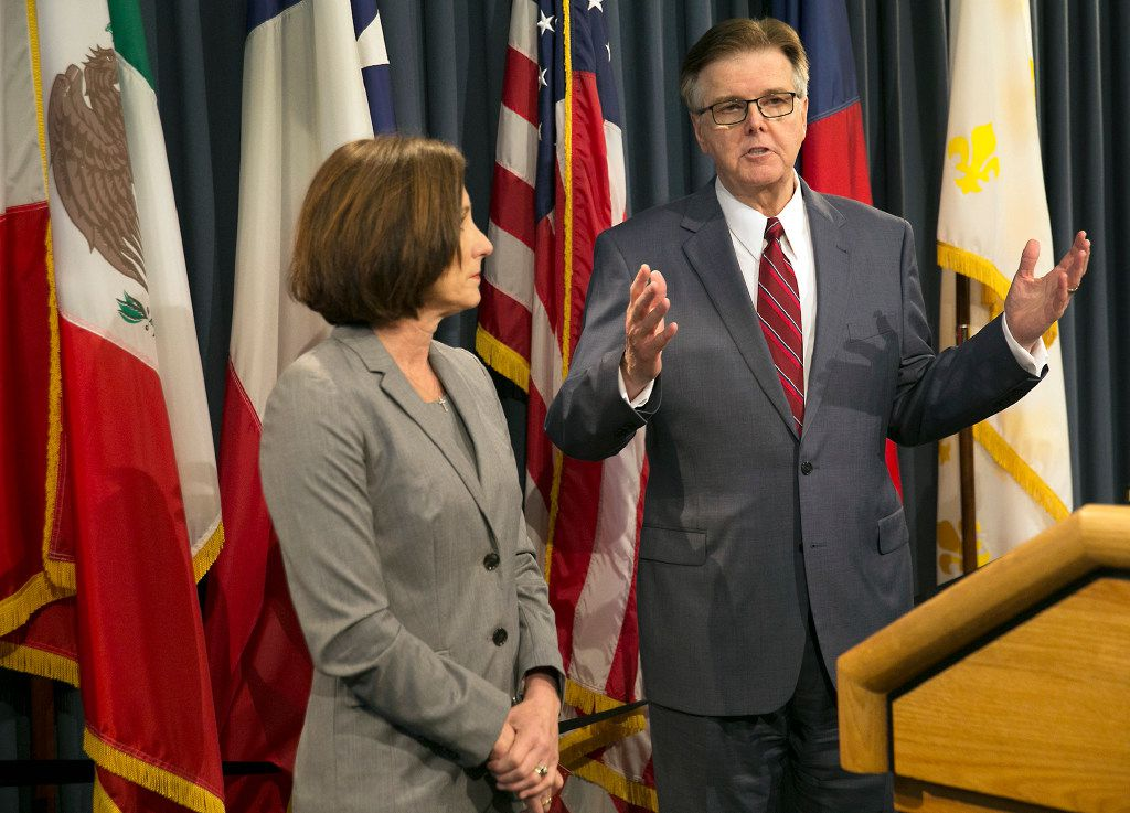 "Lt. Gov. Dan Patrick and Brenham GOP Sen. Lois Kolkhorst touted their ""Texas Privacy Act,"" which would require transgender people to use bathrooms corresponding to their sex at birth, at a January news conference in Austin."