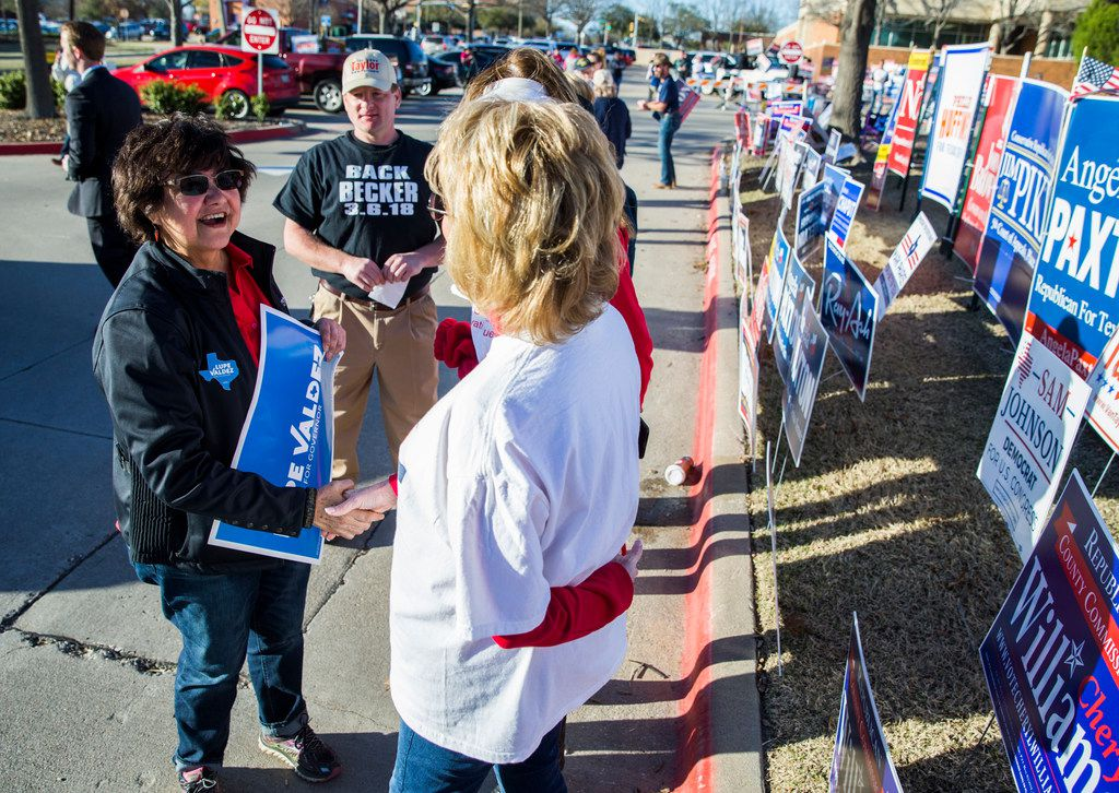 Gubernatorial candidate and former Dallas Sheriff Lupe Valdez greets voters and campaigners outside a polling place at Allen City Hall and  on primary election day on Tuesday, March 6, 2018 in Allen, Texas.