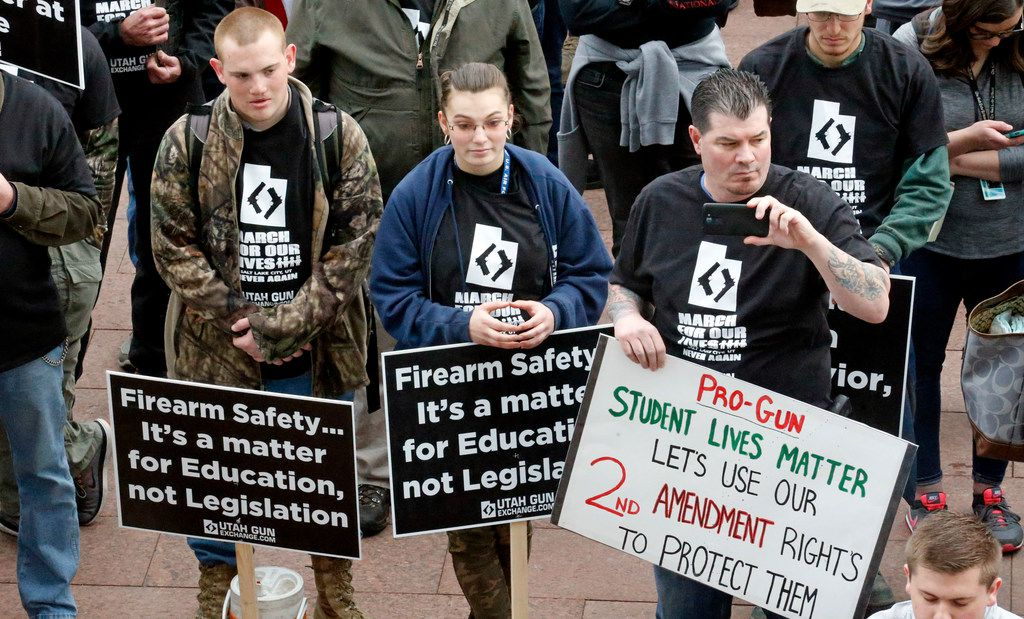 Pro-gun marchers rally for fortified schools and more armed teachers Saturday at the Utah State Capitol.