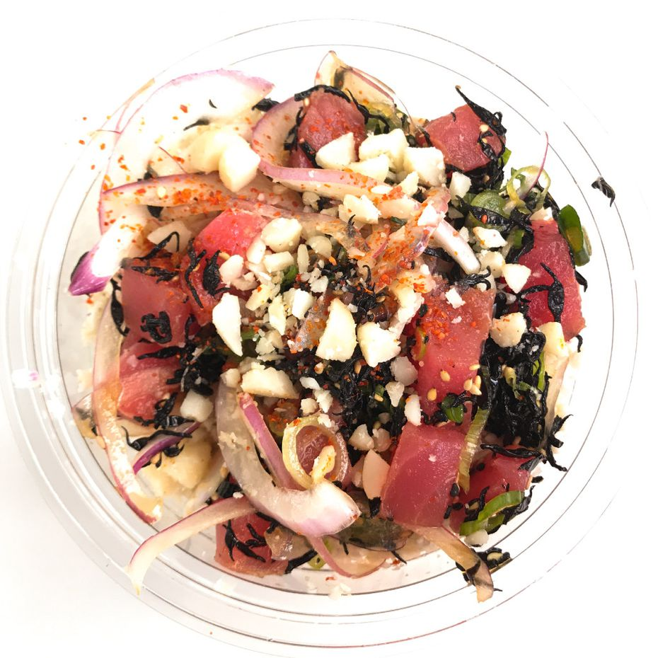 """A """"classic tuna"""" poke bowl, with cauliflower rice as the base, at Pok the Raw Bar in West Village"""