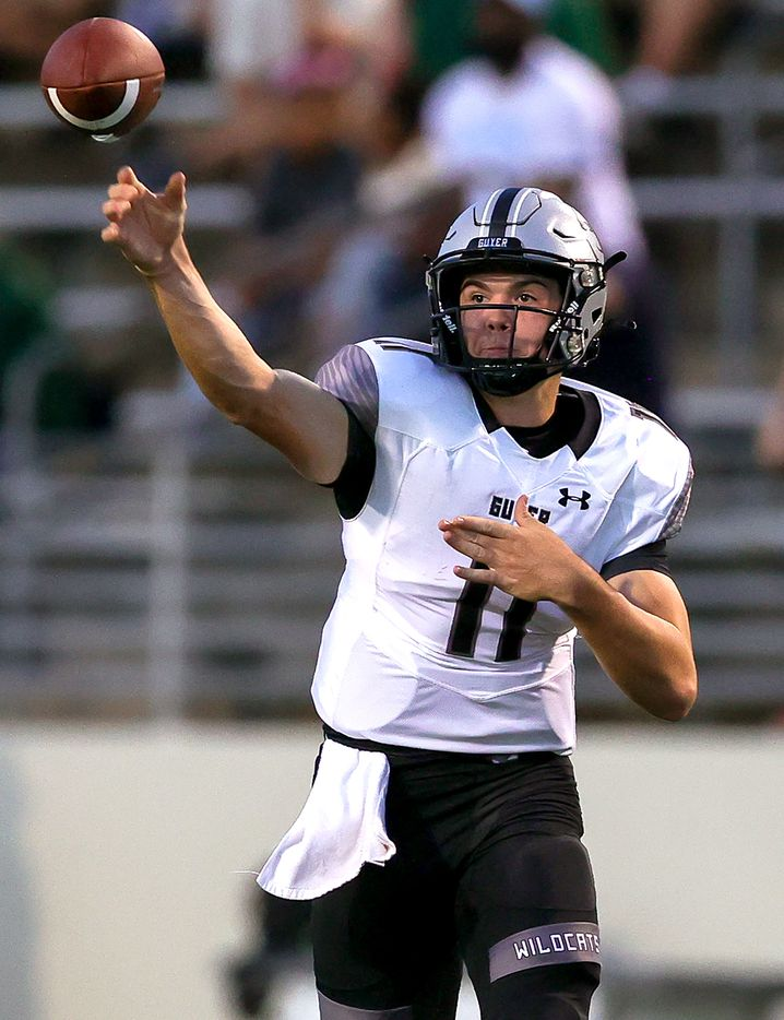 Denton Guyer quarterback Jackson Arnold attempts a pass against Denton Braswell during the first half in a District 5-6A high school football game played at the C.H. Collins Complex on Friday, October 8, 2021, in Denton. (Steve Nurenberg/Special Contributor)