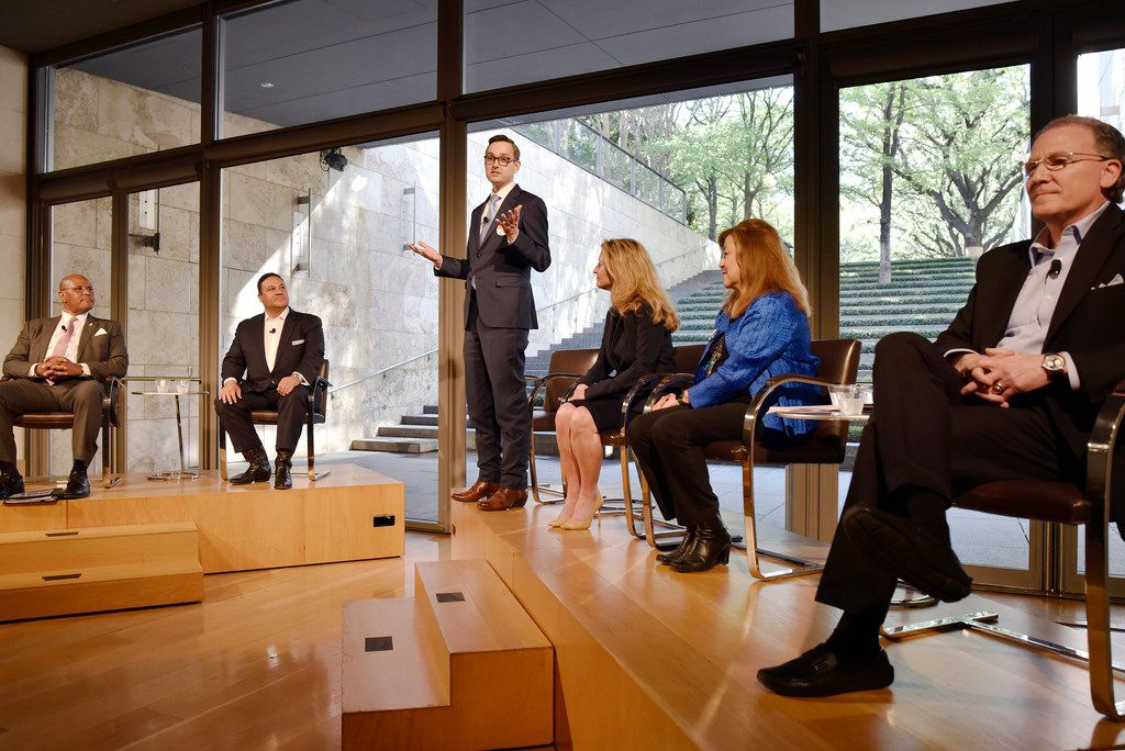 Mayoral candidate Scott Griggs, third from left, stands as he speaks about the issues facing the arts in Dallas communities at the Dallas Mayoral Arts and Cultural Forum held at the Nasher Sculpture Center in Dallas, Monday March 25, 2019