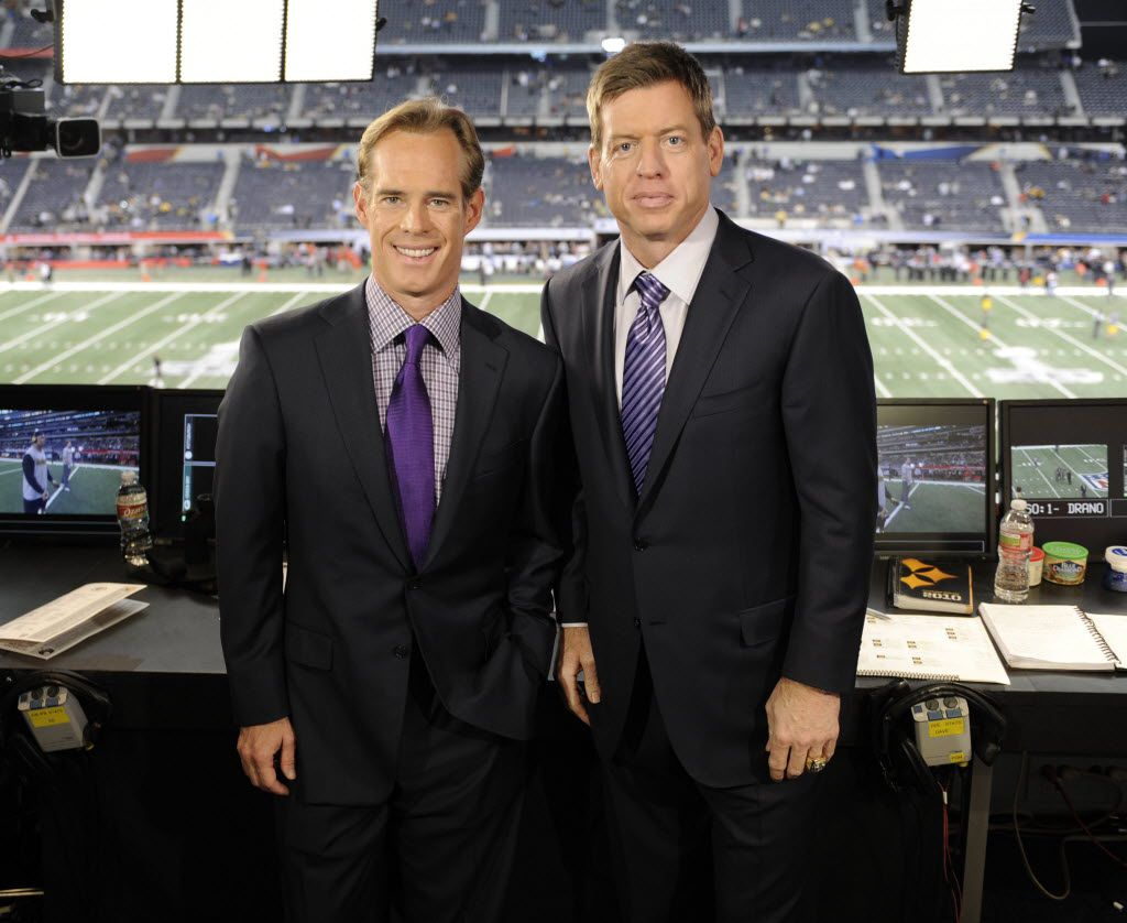 ARLINGTON, TX - FEBRUARY 6: (L-R) Game announcers Joe Buck and Troy Aikman appear before the telecast of Super Bowl XLV at Cowboys Stadium, February 6, 2011 in Arlington, Texas. (Photo by Frank Micelotta/PictureGroup)