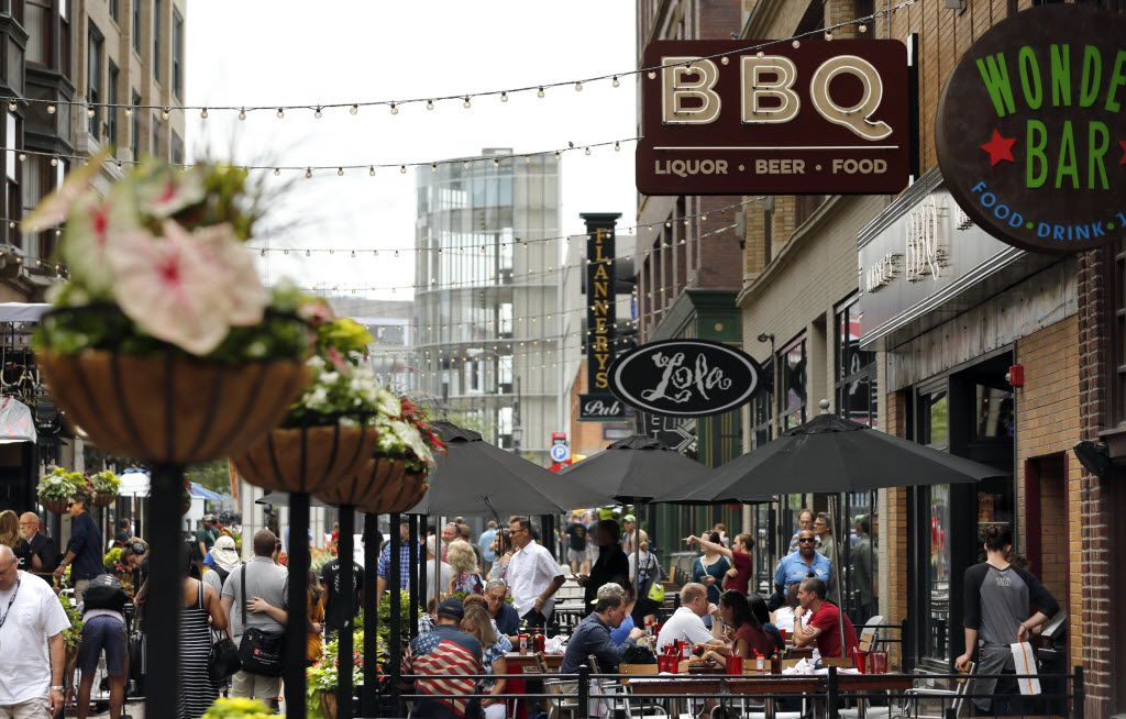 Just blocks away from Quicken Loans arena is a row of restaurants and bars in Cleveland, Ohio on Saturday, July 16, 2016. Cleveland is hosting the Republican National Convention. (Vernon Bryant/The Dallas Morning News)