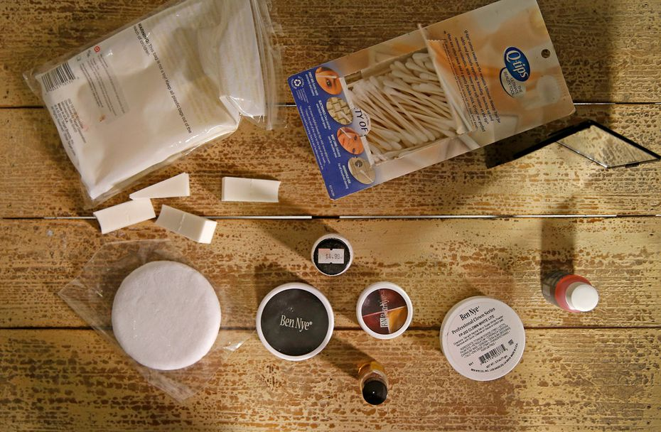 Make-up supplies used by Dallas Children's Theater make-up artist Doug Burks to transform Nancy Churnin into a ghoul.