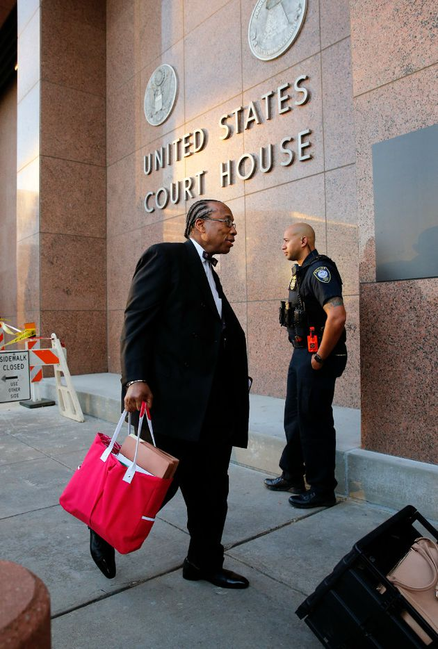 Dallas County Commissioner John Wiley Price arrives for the first day of his bribery trial at the Earle Cable Federal Building in downtown Dallas, Thursday, February 23, 2017. (Tom Fox/The Dallas Morning News)