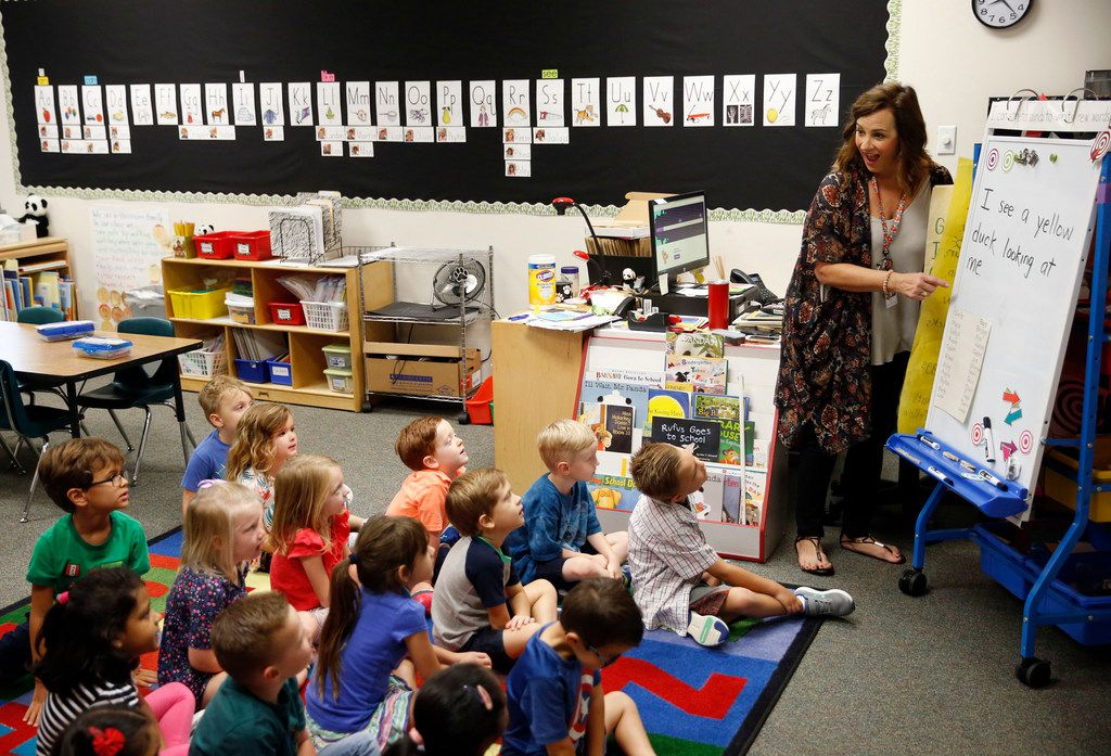 Kindergarten teacher, Amy Hardesty teaches her class at Fisher Elementary School in Frisco on Sept. 4.