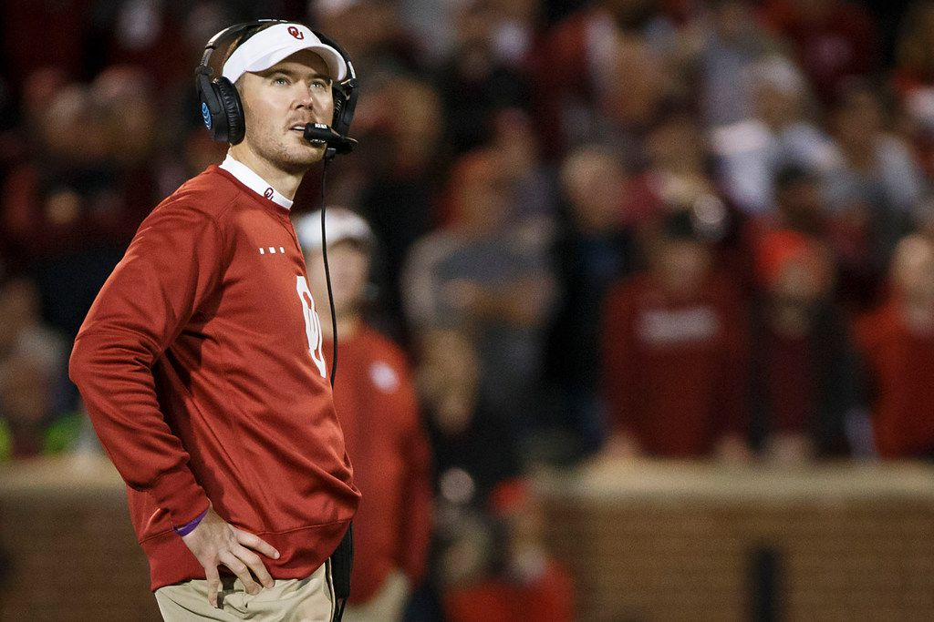 Oklahoma head coach Lincoln Riley looks up at the scoreboard during the second half of an NCAA football game against TCU in Norman, Okla., Saturday, Nov. 11, 2017.