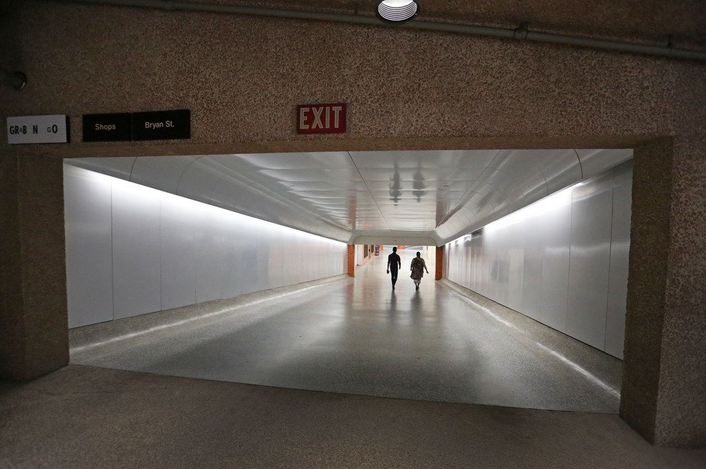 Dallas Morning News reporter Brendan Meyer takes Curious Texas reader Xan Alexander on a tour of the underground tunnels, heading toward Thanks-Giving Square, in downtown Dallas.