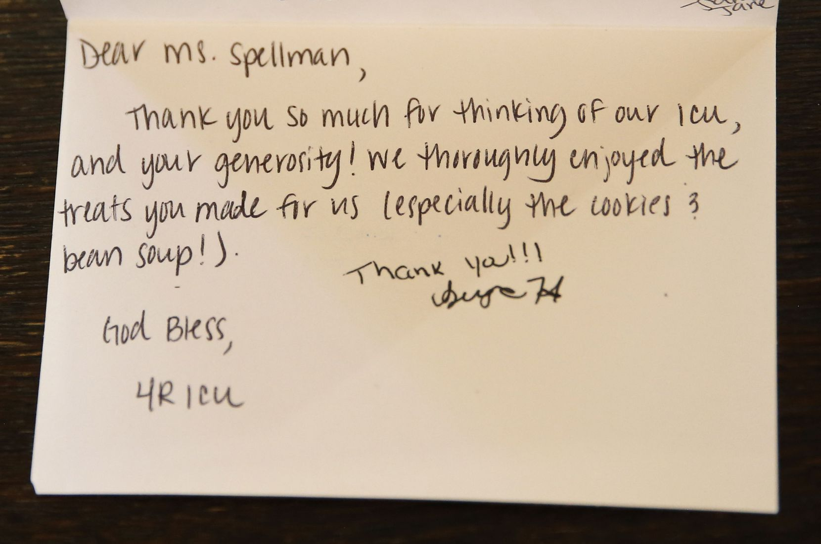 A thank-you note sent to St. Mary's Guild, photographed at St. Michael and All Angels Episcopal Church on Monday.