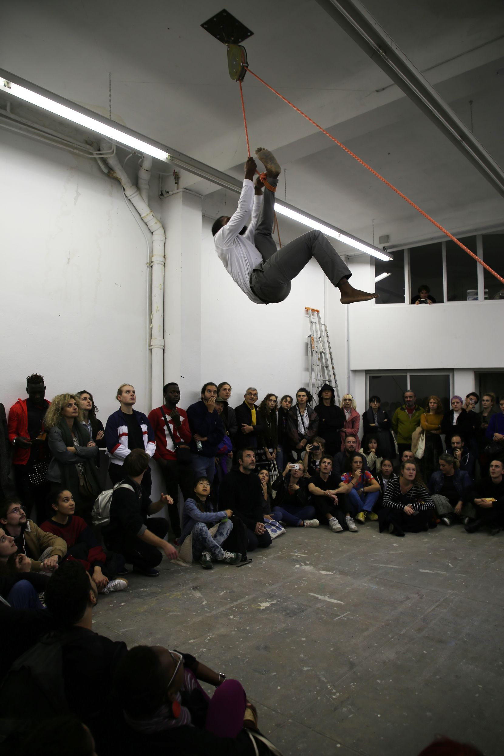 XXavier Carter doing a performance art piece, 'Tuez-Les Tous Performance,' during a show in France in 2019.