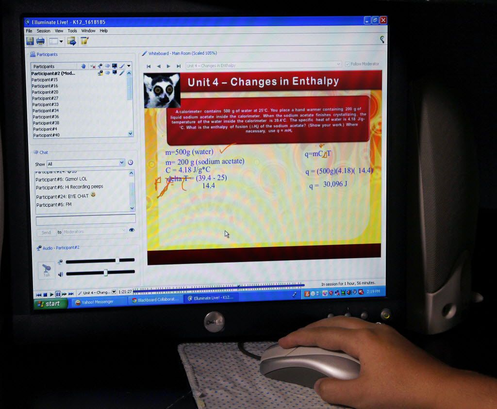 A student goes through her lessons in the Texas Virtual Academy in this 2012 picture.