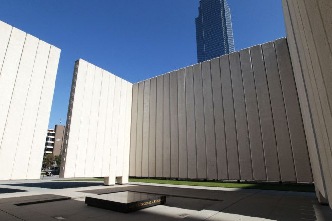 The John Fitzgerald Kennedy Memorial in downtown Dallas was erected in 1970 and designed by noted architect Philip Johnson.