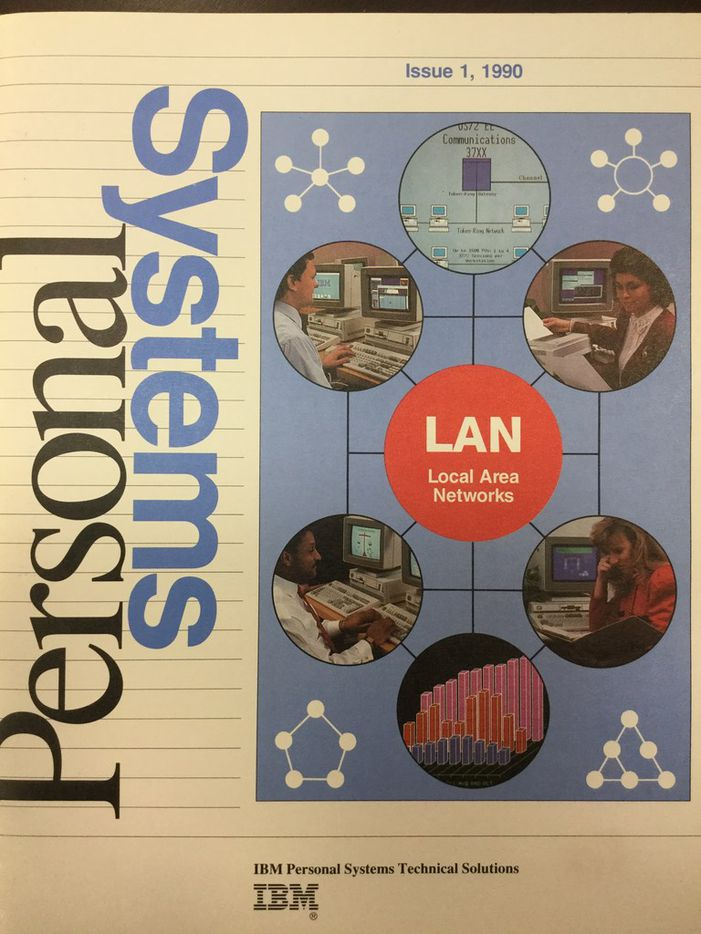 Romelia Flores, upper right circle, IBM distinguished engineer and IBM master inventor, was featured on the cover of IBM Personal Systems Magazine in 1990.