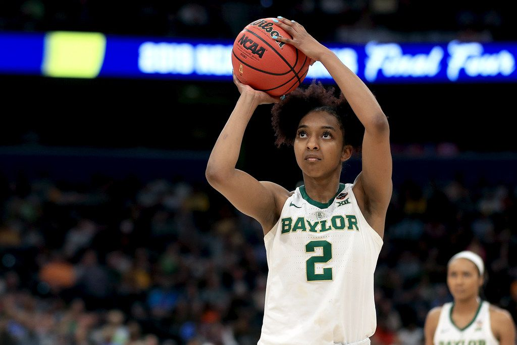 TAMPA, FLORIDA - APRIL 05:  DiDi Richards #2 of the Baylor Lady Bears attempts a free throw against the Oregon Ducks during the fourth quarter in the semifinals of the 2019 NCAA Women's Final Four at Amalie Arena on April 05, 2019 in Tampa, Florida.