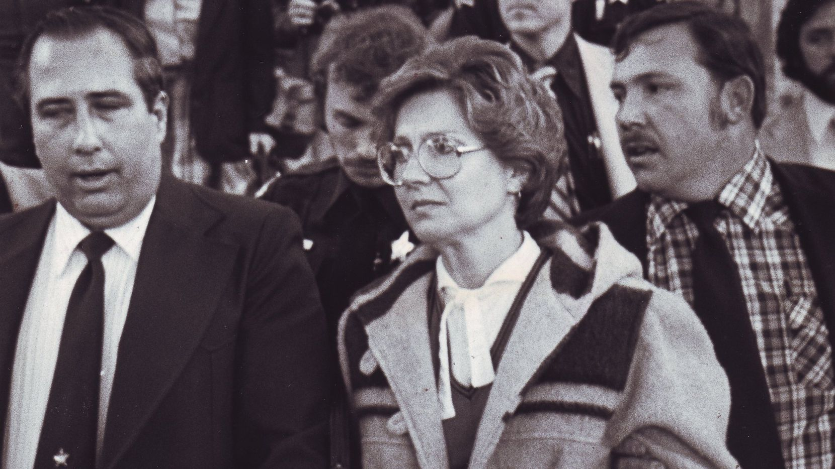 Candy Montgomery leaves court in 1980. Montgomery was found not guilty of murdering her Wylie neighbor Betty Gore.