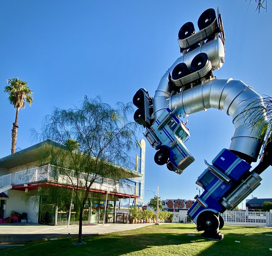 "Artist Mike Ross' ""Big Rig Jig,"" a 2007 sculpture that was featured at the Burning Man and Coachella music festivals, is the centerpiece of the new Fergusons Downtown community development in Las Vegas."
