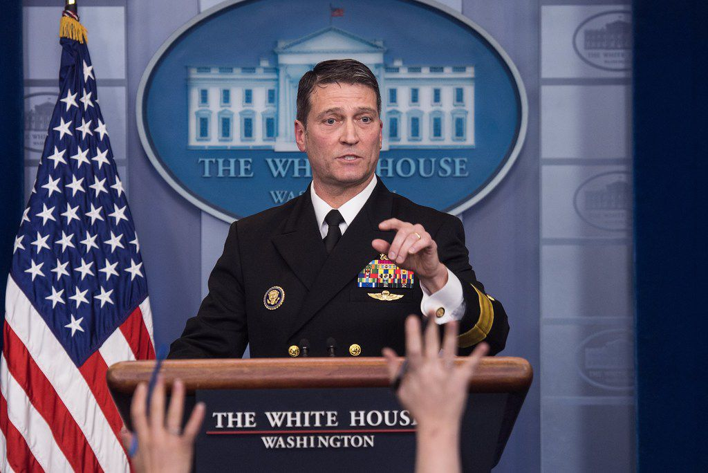 In this file photo taken on January 16, 2018 White House physician Rear Admiral Ronny Jackson speaks at the press briefing at the White House.