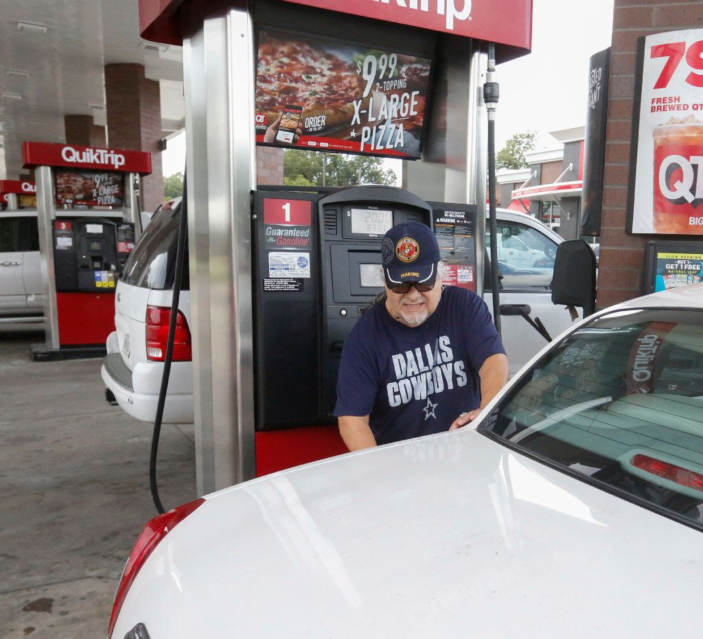 Rudy Garcia Sr. filled his car at a QuikTrip on Zang Boulevard in Dallas on Aug. 30.