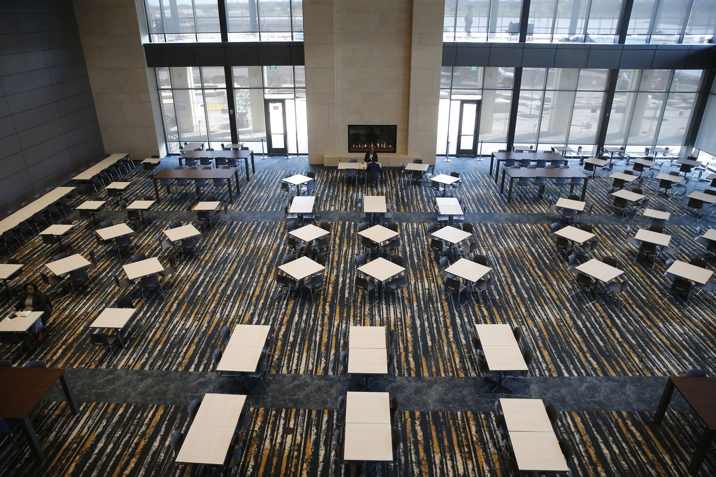 Overhead view of the dining area that can be used for multiple purposes at Charles Schwab's new offices in Westlake. (Vernon Bryant/The Dallas Morning News)