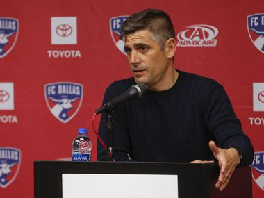 FC Dallas head coach Luchi Gonzalez speaks to members of the media following an FC Dallas win over the Philadelphia Union on Saturday, Feb. 29, 2020 at Toyota Stadium in Frisco, Texas.