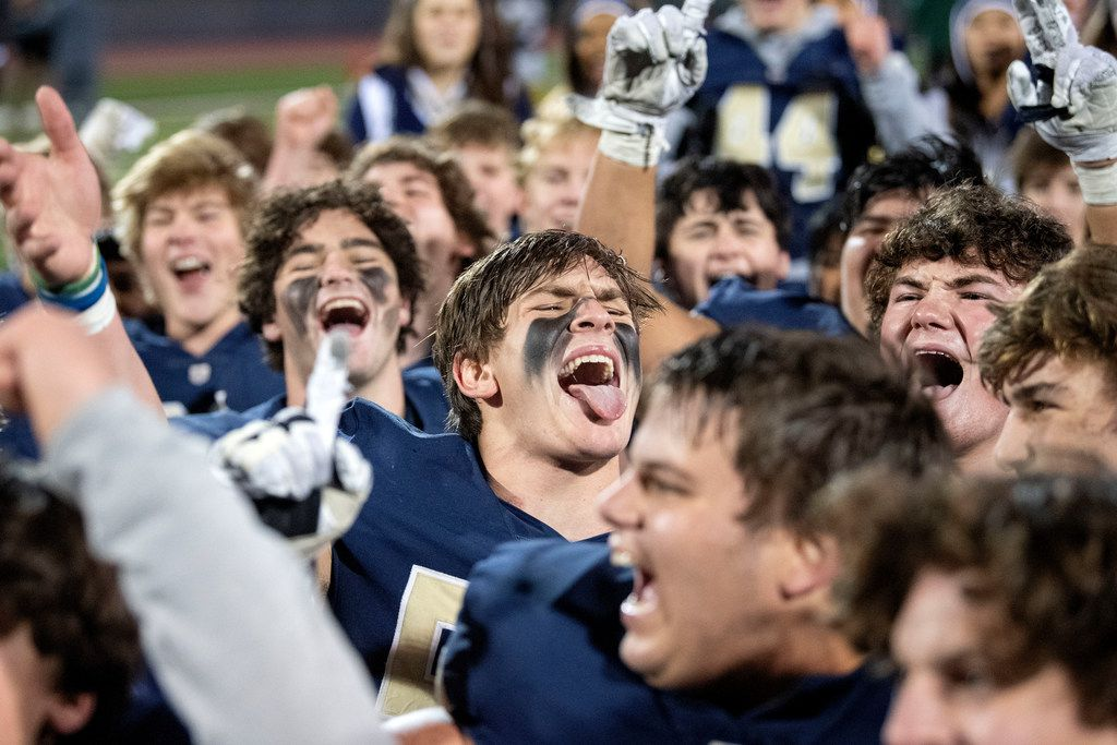 Jesuit senior linebacker Tommy Roy (55), center, cheers wildly after his team defeated defending state champions Longview 27-25 in an area round high school football playoff game on Friday, November 22, 2019 at John Kincaide Stadium Dallas. (Jeffrey McWhorter/Special Contributor)