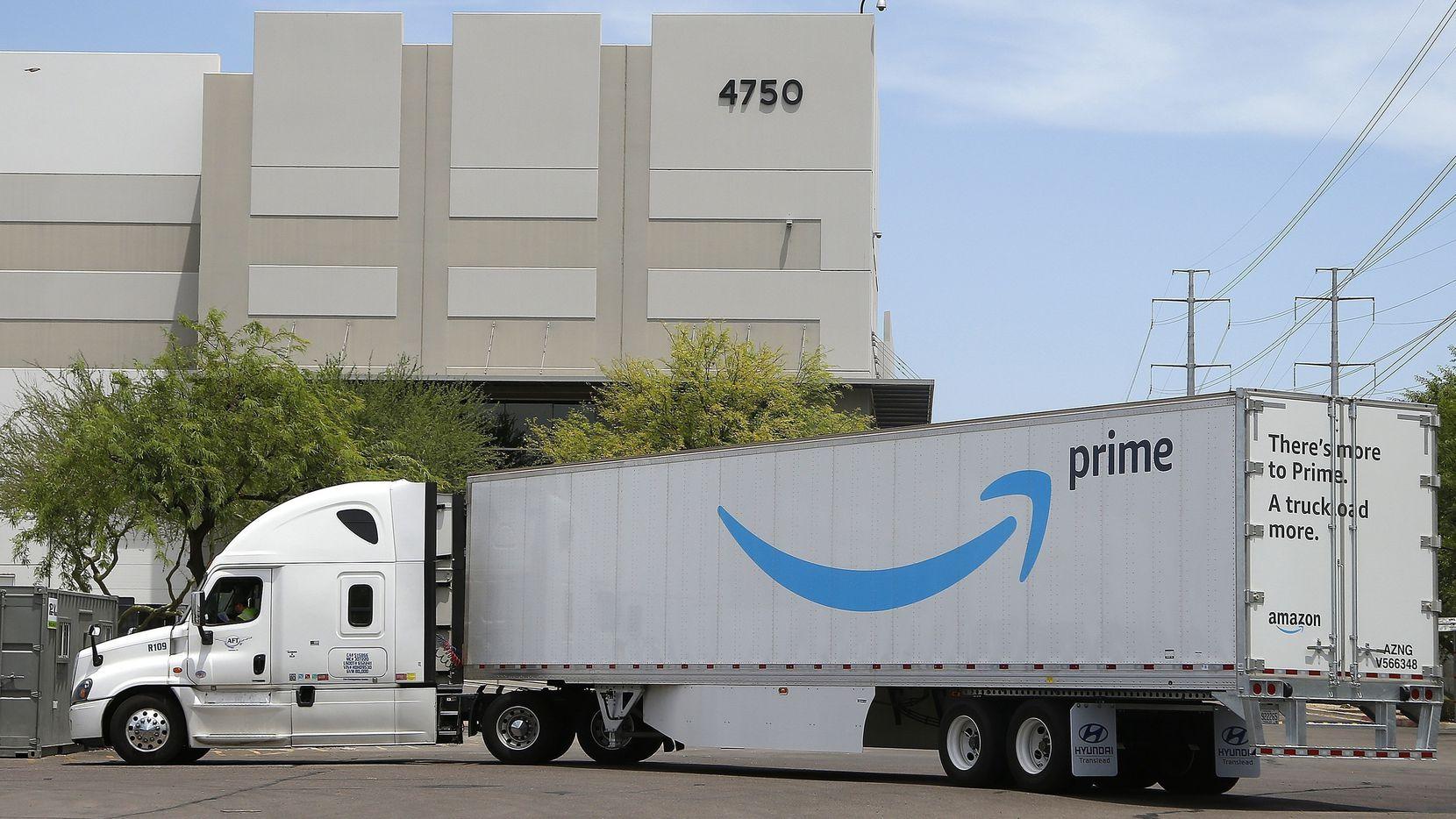 An Amazon shipping truck at a fulfillment center in Phoenix.