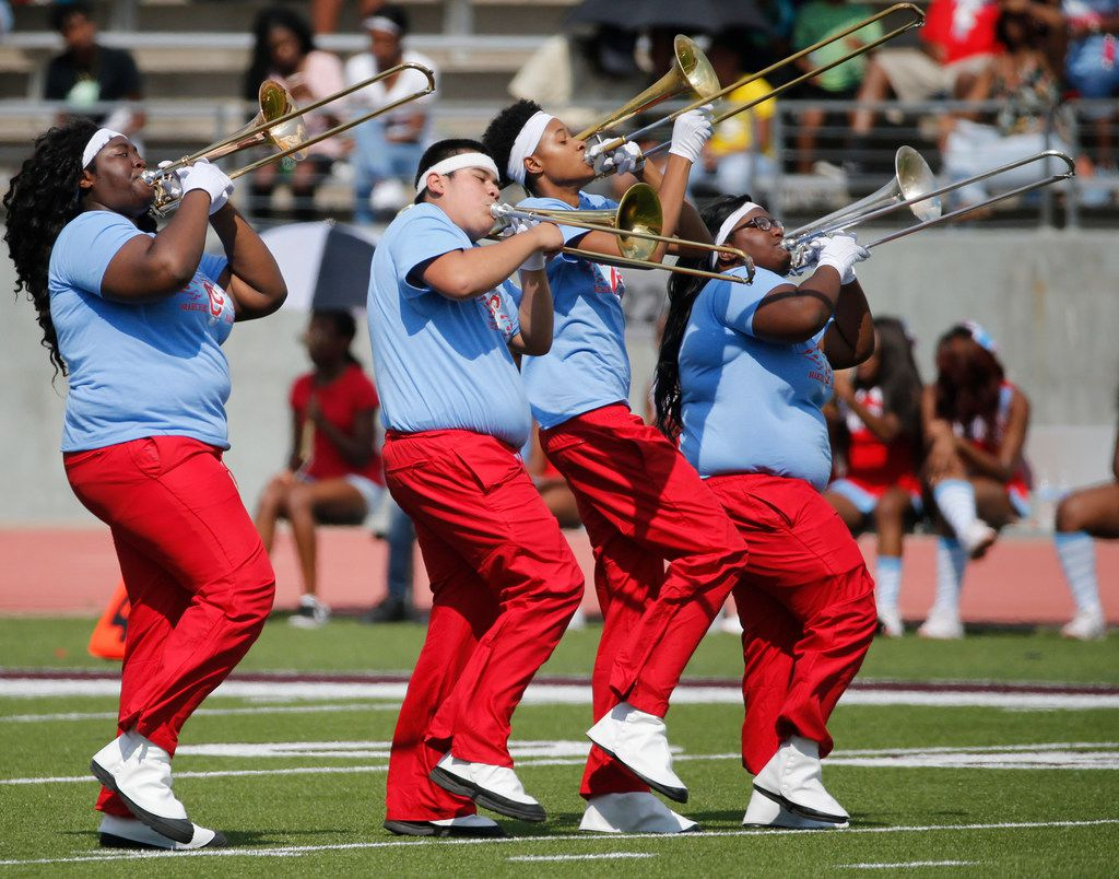 Members of the Carter band perform at halftime during the Carter High School Cowboys vs. the South Oak Cliff Golden Bears high school football game at Kincaide Stadium Stadium in Dallas on Saturday, September 23, 2017. (Louis DeLuca/The Dallas Morning News)